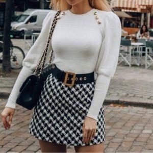 Zara puff sleeve sweater S white
